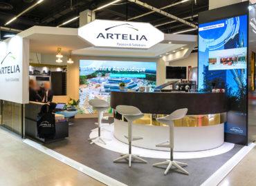 50 vidéos sur des murs LED animent le stand du Groupe ARTELIA (Salon de l'Immobilier d'Entreprise 2018 - Paris)