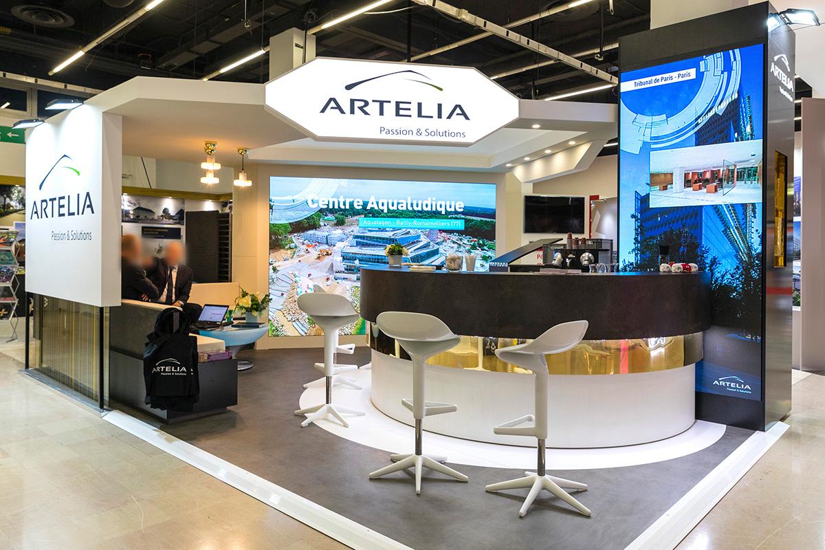 50 vidéos sur des murs LED animent le stand du Groupe ARTELIA (Salon de l'Immobilier d'Entreprise 2018 – Paris)
