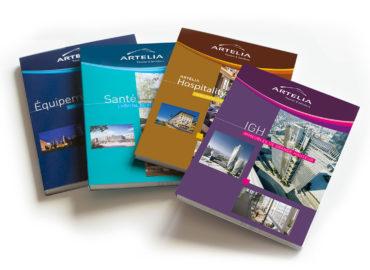 Design graphique de blocs vierges (objet publicitaire) pour le Groupe Artelia au Salon du SIMI
